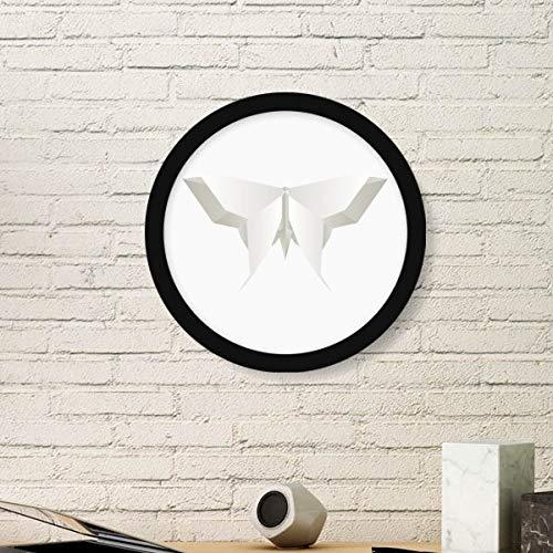 DIYthinker Origami Blanco de la Mariposa Abstracta del Arte del Modelo de Pintura de Fotos de imágenes de Madera Marco Redondo Regalo a casa decoración de la Pared Pequeña Negro