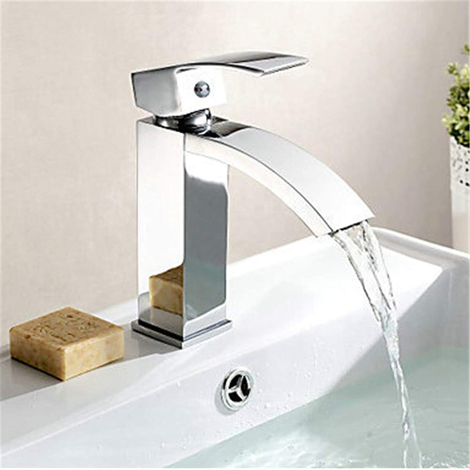 YAWEDA Bathroom Basin Faucet Brass Basin Mixer Tap Chromed Polished Waterfall Faucets Single Handle Hot and Cold Water Mixer Bathroom Sink Faucet