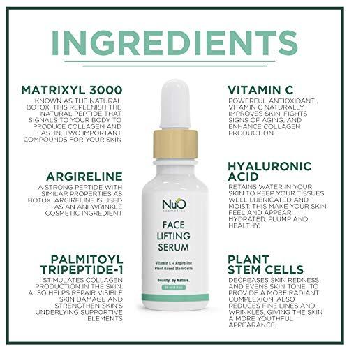 51SqDoiZ85L - NuOrganic Face Lifting Serum | Anti-Aging Serum | Organic Formula with MATRIXYL 3000, Vitamin C, Hyaluronic Acid, Plant Stem Cells, Argireline - Lifts, Firms & Tightens Skin ● 30ML