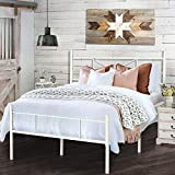 HAAGEEP White Queen Bed Frame with Headboard and Footboard Metal Platform Bedframe with Storage No Box Spring Needed 14 Inch Size