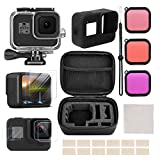 VARIPOWDER Accessories Kit for GoPro Hero 8 Black with Waterproof Case+Protective Housing+Tempered Glass Screen Protector+Lens Filters+Anti-Fog Inserts+Shockproof Small Case Bundle for GoPro Hero 8