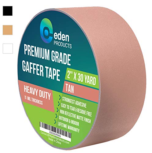 """REAL Professional Grade Gaffer Tape 2"""" X 30 Yards by EdenProducts, Strongest On The Market, Residue Free, Heavy Duty Non-Reflective Matte Finish Cloth Gaff Tape, Multipurpose, Outdoor & Indoor – Black"""