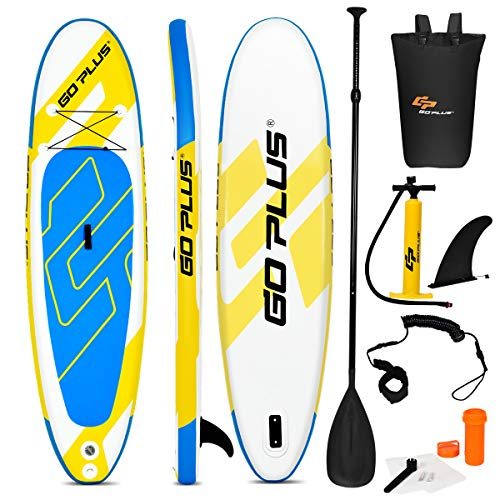 "Goplus Inflatable Stand Up Paddle Board, 6"" Thick SUP with Accessory Pack, Adjustable Paddle, Carry Bag, Bottom Fin, Hand Pump, Non-Slip Deck, Leash, Repair Kit (Yellow+Blue, 10FT)"