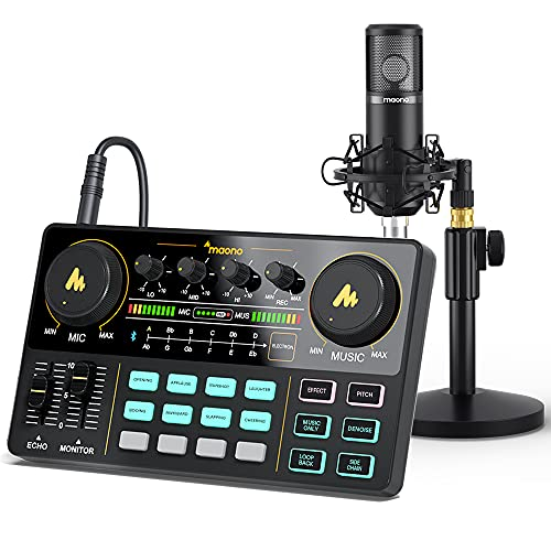 Audio Interface with DJ Mixer and Sound Card, Maonocaster Lite Portable ALL-IN-ONE Podcast Production Studio with 25mm Large Diaphragm Microphone for Live Streaming, PC, Recording(AU-AM200-S4)