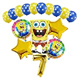 Ysguangs Ballon 16pcs Grand Bob l'éponge Ballons Foil 32inch Or Nombre Boules Heureux Birthday Party Ballon Décorations Enfants Jouets (Color : Gold 7, Shape : 16pcs)