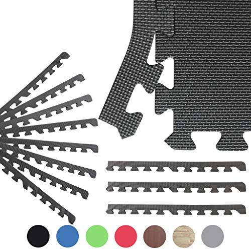 Sporttrend 24 - Schutzmatten/Randstücke Set 4-72teilig schwarz und weitere Farben 60x60x1cm   Bodenschutzmatte Unterlegmatte für Fitnessgeräte Sportgeräte (8 Endstücke, schwarz)