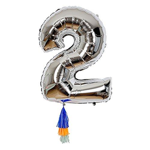 Ballon chiffre 2 avec pompons - Meri Meri