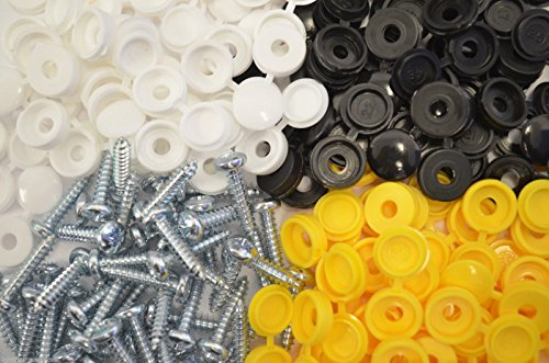 32 X CAR NUMBER PLATE FIXING FITTING KIT 32 SCREWS & 32 CAPS WHITE BLACK AND YELLOW
