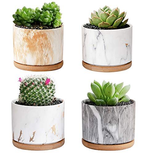 3.5 Inch Succulent Plant Pots, DeeCoo Ceramic Planters with Drainage Hole,Small Marble Pattern Ceramic Flower Planter Indoor with Bamboo Tray for Cactus Herb Home, Set of 4