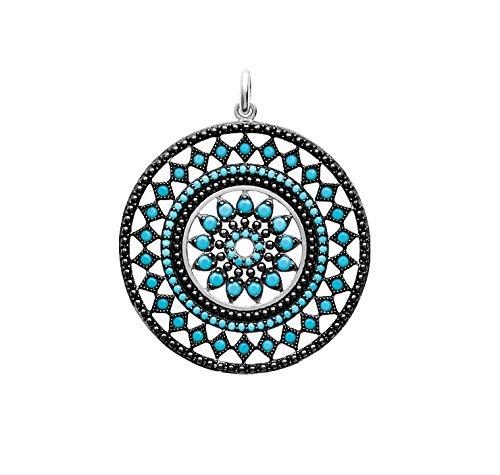 Thifeo – Amerindio Colgante para mujer plata 925 rodio con piedra azul turquesa sintética
