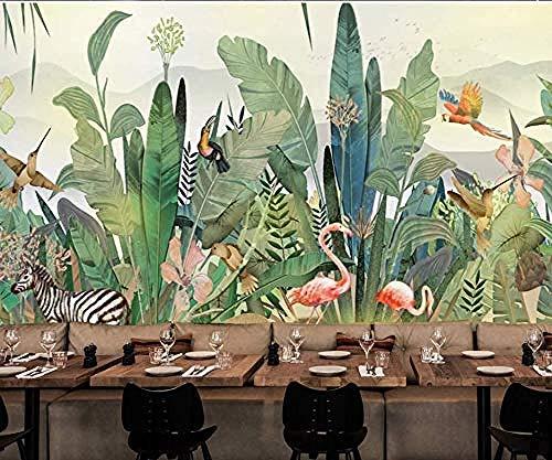 Fondo de pantalla Jungle Tapestry Photo Poster Murales de pared Fondo Pintado Bosque Flores botánicas Birds BirdsPapel Pintado a papel Fotográfico Fotomural dormitorio-150cm×105cm