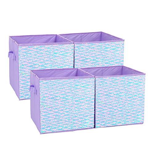 JULY\'S SONG Aufbewahrungsbox 4 Stück, Faltbox Kinder, Aufbewahrung für Regal ohne Deckel, Faltbarer Organizer, Spielzeug Kiste mit Griffen 28 x 28 x 28cm(Lila)