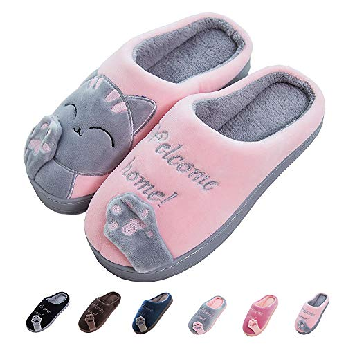 Women's & Men's Comfort Memory Foam Slippers Breathable Fuzzy Slip on Clog House Shoes w/Indoor Outdoor Anti-Skid Sole (Women 6.5-7.5M, Grey Cat)