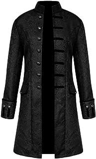 XL, Nero Cappotti con Cappuccio Uomo Inverno retr/ò Steam Punk Gotico Cappotto Cardigan in Tinta Unita Outwear Tops Elegante Caldo Camicetta Lungo Felpa Giacca da Mantello da Uomo Vintage