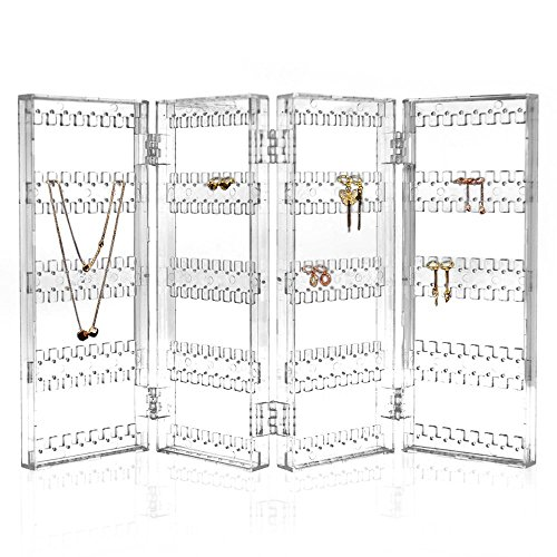TheJD Foldable Acrylic Earring Screen Stand Holder - Upto 144 Pairs Earring Display Showcase