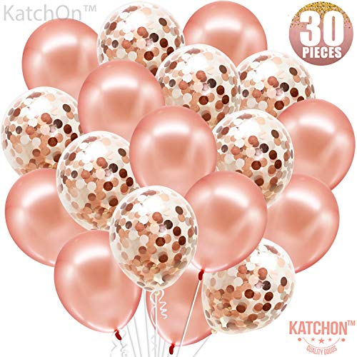KATCHON Cmbb Rose Gold Confetti Balloons Pack of 30, 12 Inch, Great for Bridal Shower Decorations, Birthday Party