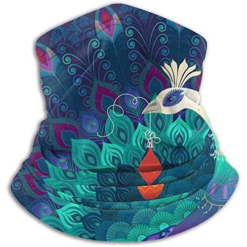 Regan Nehemiah Mooie kleurrijke magische pauw vogel houdt kerstversiering skimasker gezichtsmasker hals warmers fleece kap winterhoed