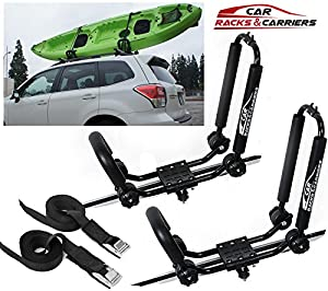 Car Rack & Carriers Universal Kayak Carrier Car Roof Rack Set of Two J-Shape Foldable Carrier for Canoe, SUP and Kayaks mounted on your SUV, Car Crossbar