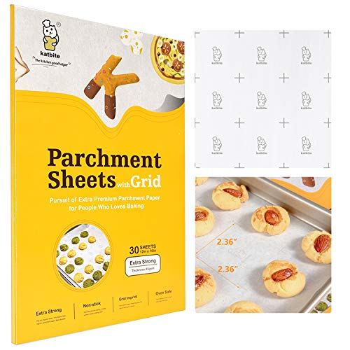 Katbite Heavy Duty Parchment Paper Sheets for Cookies, 12x16 Inch Parchment Sheets, 30 Count