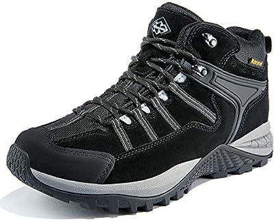 Wantdo Men's Waterproof Hiking Boots Outdoor Lightweight Shoes Backpacking Trekking Trails Winter Shoes 9 M US Black