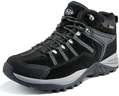 Wantdo Men's Waterproof Hiking Boots Lightweight Mid Ankle Trekking Backpacking Outdoor Tactical Combat Boots 10.5 M US Black