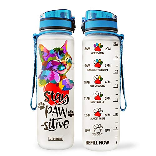 64HYDRO 32oz 1Liter Motivational Water Bottle with Time Marker, Cat Mom Cat Lover Stay Paw-sitive Positive HLP1008003 Water Bottle