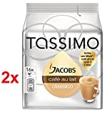 TASSIMO JACOBS CAFE AU LAIT - Pack of 2 (Total 32 Servings, 32 t-discs) T-disc Capsules Variety Pack / coffee pods