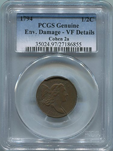 1794 P Liberty Cap Half Cent VF Details PCGS