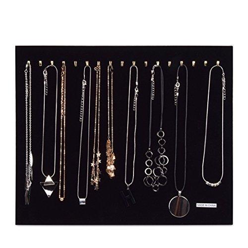 Hotgod Schmuckständer/Organizer für Halsketten / Armbänder / Ketten, schwarzer Samt, für bis zu 17 Halsketten (nicht im Lieferumfang inbegriffen)