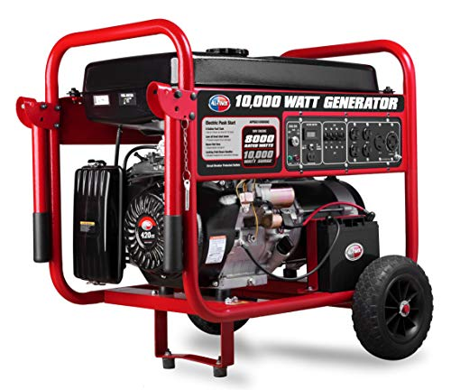All Power America APGG10000C 10000 Watt Portable Generator w/Electric Start Gas Powered, C.A.R.B Compliant, Black/Red