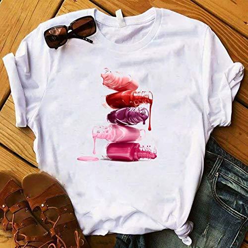 MU-PPX Womens Graphic 3D Fingernagelfarbe Farbe Gedruckt Top T-Shirt Weibliche T-Shirt Kleidung, Weiß-D, M.