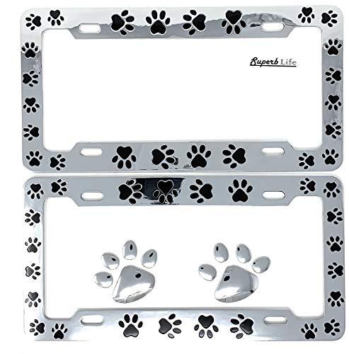 Animal Black Paws Print Design License Plate Frame, Pet Dog Cat, Set of 2 with 2pcs 3D Chrome Dog Paw Footprint Sticker Decal