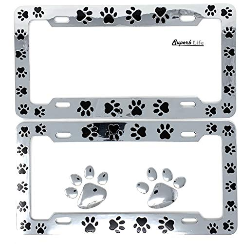 Animal Black Paws Print Design License Plate Frame, Pet Dog Cat, Set of 2 with 2pcs 3D Chrome Dog Paw Footprint Sticker Decal