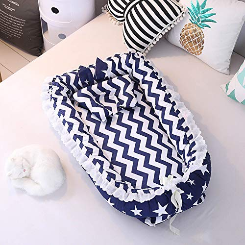 HLSUSAN Portable Baby Lounger Newborn Sleeping Lounger Baby Sleep Nest Pod Multifunctional Bionic Bed Travel Cot Lace Crib Mattress 90×55×15cm,Blue,S