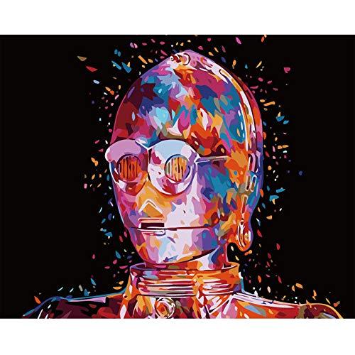 DKIPN DIY Oil Painting By Numbers Elite Robot Figure Pittura Fai-da-Te con Numeri Immagine da Parete Immagine Pittura Acrilica per La Decorazione Domestica 40X50(Senza Telaio)