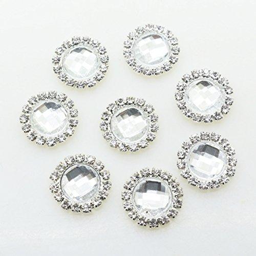 Boutons décoratifs en acrylique Transparent Strass 23 mm x 24 mm, 1 Lot de 30 pcs
