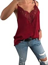 TWGONE V Neck Tank Tops for Women Lace Vest Sleeveless Loose Camisole Casual Blouse