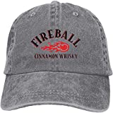 Gsdgjgg Fireball Cinnamon Whisky Retro Casquette Baseball-Caps Gray Cotton Adjustable Unisex Hat Gift,One Size