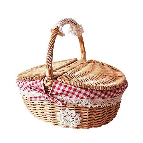 UNiiyi Cesta de Picnic de Mimbre Ovalada Hecha a Mano de Estilo rústico con Tapa para picnics, campamentos y barbacoas