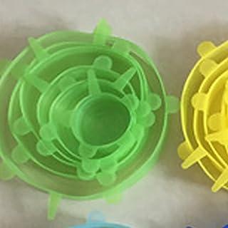 6 pièces Cuisine Accessoires universels Silicone Emballage Alimentaire réutilisable Bol Pot Couverture Silicone Extensible...