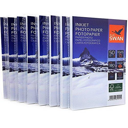 400 fogli di carta fotografica per stampante, formato 10x15 cm, 180 g/m², lucida, impermeabile, utilizzabile su un lato