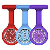 Vicloon Reloj de Bolsillo de Silicona con Broche, 3 Piezas Reloj de Enfermera de Bolsillo para Enfermera con Broche para Unisexo Reloj Paraméd Nurse Fob, Regalo para Enfermera Médico