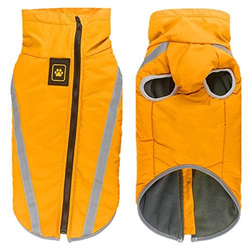 Smniao Hunde Kleidung für Große Mittlere und Kleine Hunde Wasserdichter Wintermantel Regenjacke Haustier Mantel Pullover Kostüm (XXL, Gelb)