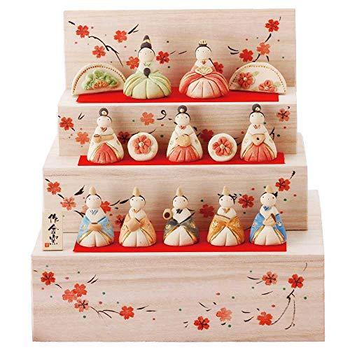雛人形 コンパクト 陶器 小さい 可愛い ひな人形/人形師の手造り雛人形 工房SAO作 花木箱段雛飾り・大/ミニチュア 初節句 お雛様 おひな様 雛飾り