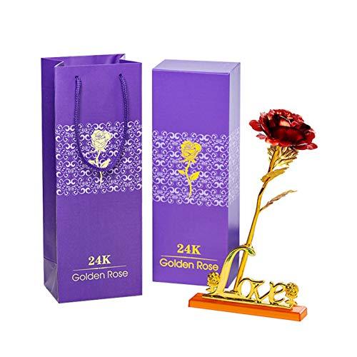 SIWEI Flor Rosa Chapada en Oro de 24K con Asiento Inferior de Amor Rosa Eterna con Caja Aniversario Novia Esposa Regalo Romántico Del Día de San Valentín para Aniversario Día de San