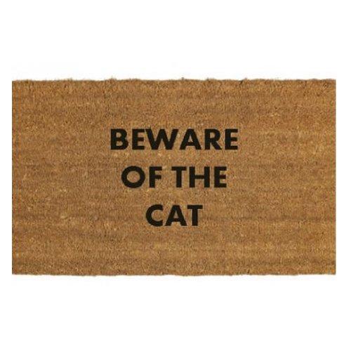 Cuidado con el Gato Felpudo–Resistente Fibra de Coco–Antideslizante PVC–60x 40cm