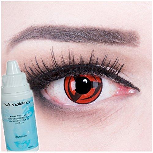 Meralens A0477 Kakashi Kontaktlinsen mit Pflegemittel mit Behälter. Perfekt zu Fasching, Halloween und Cosplay.