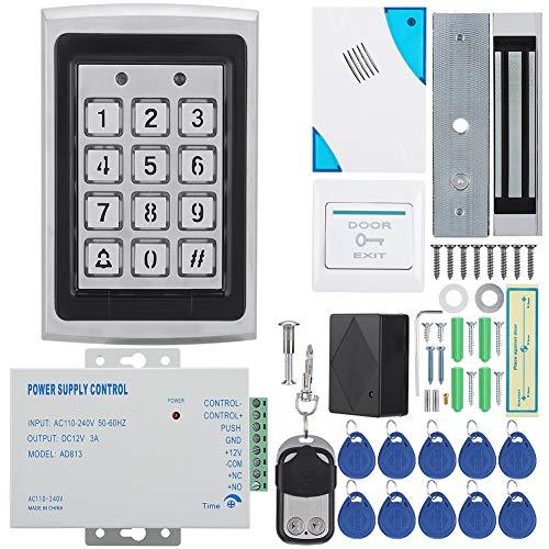RFID Tür Access Control Kit, DIY Voll Komplette 180kg Elektrisches Magnetschloss + Dingdong Türklingel + Fernbedienung + Beenden-Schaltfläche für Haus/Wohnung/Fabriksicheres System