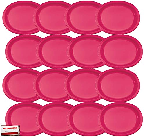 16 Pack Red Hot Magenta Oval Paper Plates Platters Premium Strength (Plus Party Planning Checklist by Mikes Super Store)