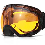 COPOZZ Ski Goggles, G1 OTG Snowboard Snow Goggles for Men Women Youth, Interchangeable Double Layer Anti Fog UV Protection Lens, Polarized Goggles Available (G1-Black Frame Amber Lens(VLT 40.2%))